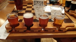 My beer flight at Storm Cloud brewery. My favorite was the last one - Whiled Away IPA