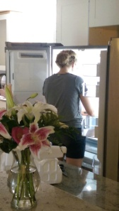 Installing the new fridge with my tshirt on inside-out. I've been told this happens a lot.